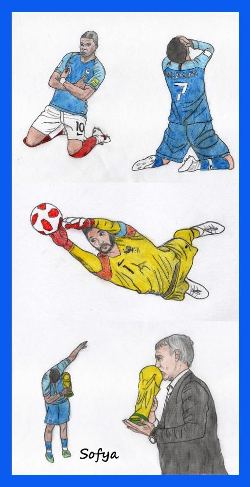 Didier Deschamps, Paul Pogba, Hugo Lloris, Antoine Griezmann, Kylian Mbappé by Sofya